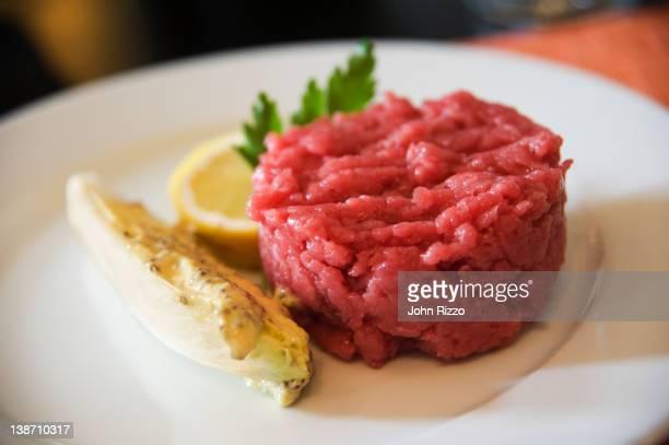 Organic, raw, chopped beef