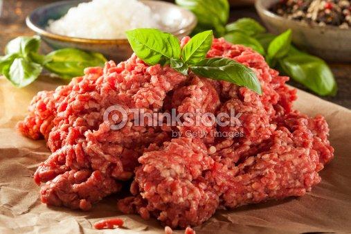 Orgánico materias primas pasto carne picada : Foto de stock