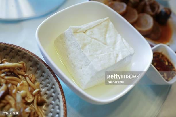 Organic Raw Soy Tofu in the bowl