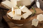 Organic Raw Soy Tofu on a Background