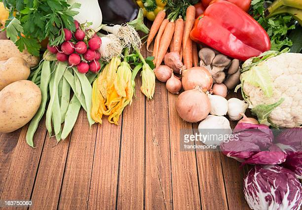 organic raw vegetables mix on the table