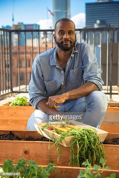 Organic Rooftop Garden Man
