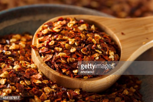 Organic Spicy Red Pepper Flakes : Stock Photo