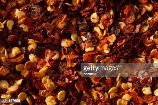 Orgânicos Pimentão Vermelho provocante Flocos : Foto de stock