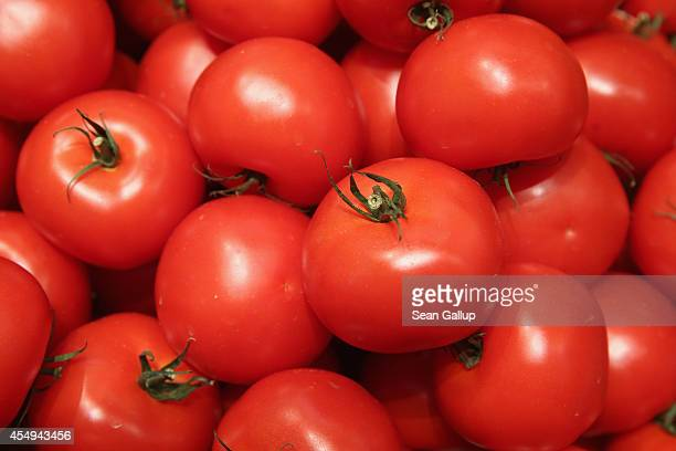 Organic tomatoes on display among fruits and vegetables at the Liebherr stand at the 2014 IFA home electronics and appliances trade fair on September...