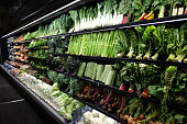 Organic vegetable aisle in grocery store