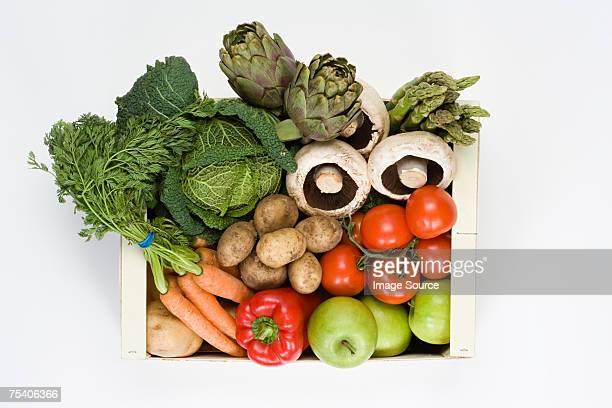 オーガニックの野菜と果物のボックス