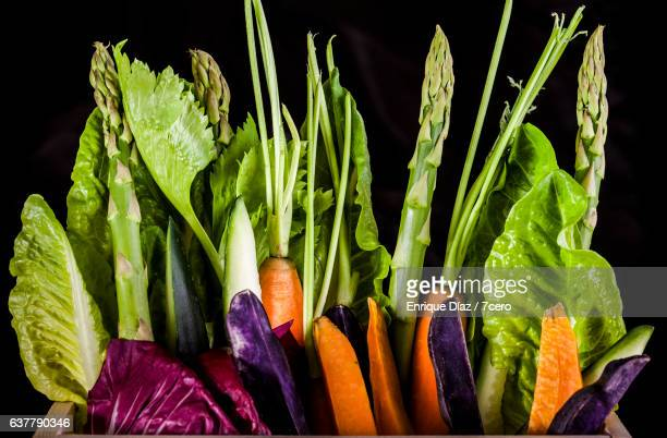 Organic Vegetable Box with Black Background