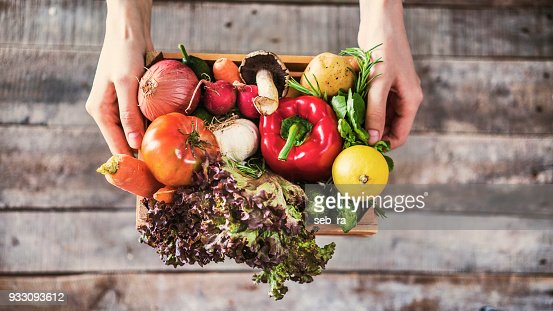 Organic vegetables healthy nutrition concept on wooden background : Stock Photo