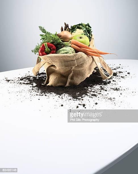 Organic vegetables in bag