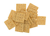 Top view of a serving of organic whole wheat crackers isolated on a white background.