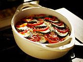 Organic zucchini and tomato casserole