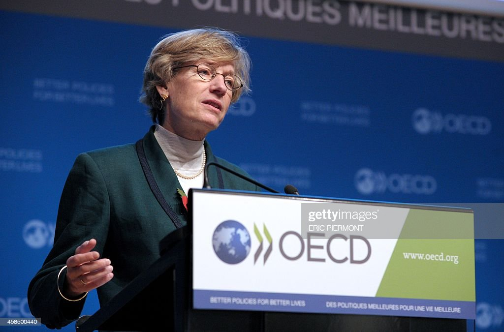 Organisation for Economic Cooperation and Development new Chief Economist Catherine Mann talks while presenting the advance G20 OECD Economic Oulook...