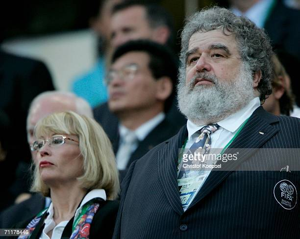 Organising Committee Chairman Chuck Blazer stands for the national anthems during the FIFA World Cup Germany 2006 Group D match between Angola and...