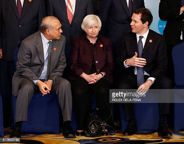 Organization for Economic Cooperation and Development SecretaryGeneral Jose Angel Gurria US Federal Reserve Board Chair Janet Yellen and British...