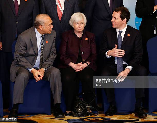 Organization for Economic Cooperation and Development Secretary General Jose Angel Gurria US Federal Reserve Board Chair Janet Yellen and British...