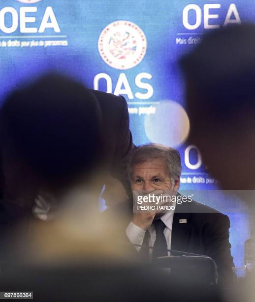 Organization of American States Secretary General Luis Almagro gestures during a meeting with foreign ministers ahead of the OAS 47th General...