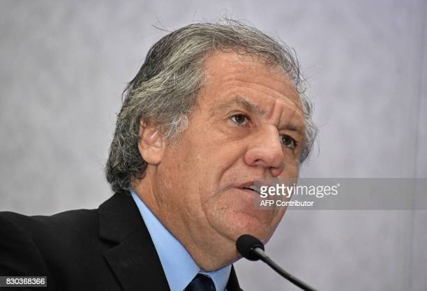 Organization of American States Secretary General Uruguayan Luis Almagro delivers a speech during the closing ceremony of the commemoration for the...