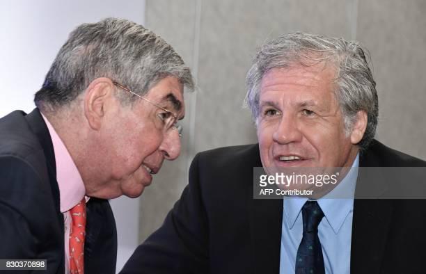 Organization of American States Secretary General Uruguayan Luis Almagro and former Costa Rican president and Nobel Peace Prizewinner Oscar Arias...