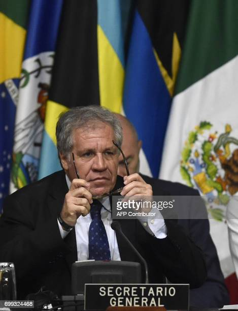 Organization of American States Secretary General Uruguayan Luis Almagro participates in the 47th OAS General Assembly in Cancun Mexico on June 21...