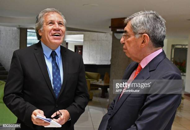 Organization of American States Secretary General Uruguayan Luis Almagro is received by former Costa Rican president and Nobel Peace Prizewinner...