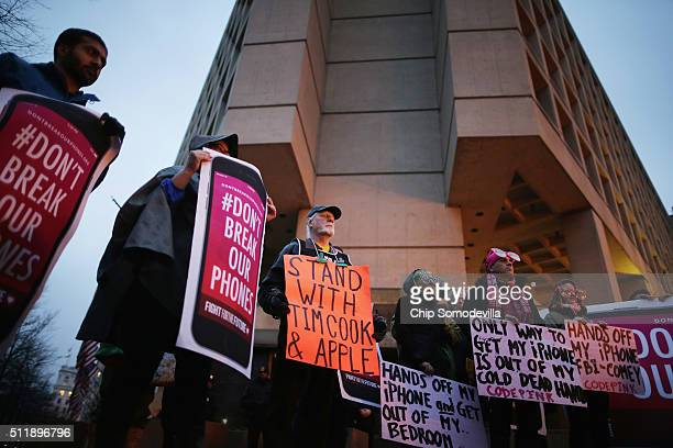 Organized by Fight for the Future about a dozen protestors demonstrate outside the Federal Bureau of Investigation's J Edgar Hoover headquarters in...