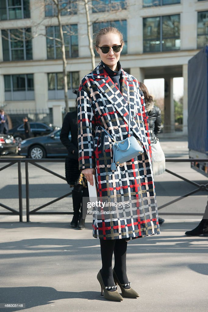 Organizer and creative director of MercedesBenz Kiev Daria Shapovalova wears an Ndure jacket Prada bag Miu Miu shoes and Ray Ban sunglasses on day 9...