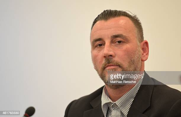 PEGIDA organizer Lutz Bachmann informs the media during a press conference on January 19 2015 in Dresden Germany Pegida is an acronym for...