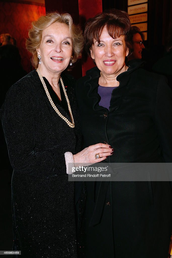 Organizer of the evening Myriam Feune de Colombi and Honor President of the Evening, Roselyne bachelot Narquin attend 'Un Temps De Chien' - Theater Gala Premiere to Benefit ARSEP Foundation. Held at Theatre Montparnasse on January 30, 2014 in Paris, France.