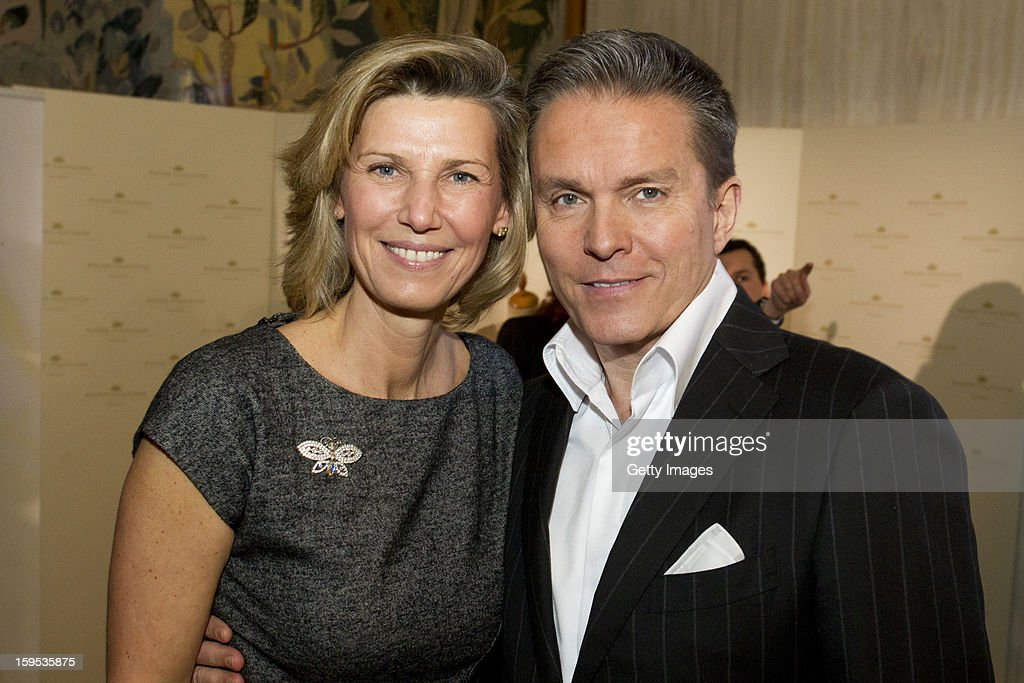 Organizer of the Opera Ball Desiree Treichl-Sturgkh and television presenter Alfons Haider pose during the press conference ahead of Vienna Opera Ball on January 15, 2013 in Vienna, Austria.
