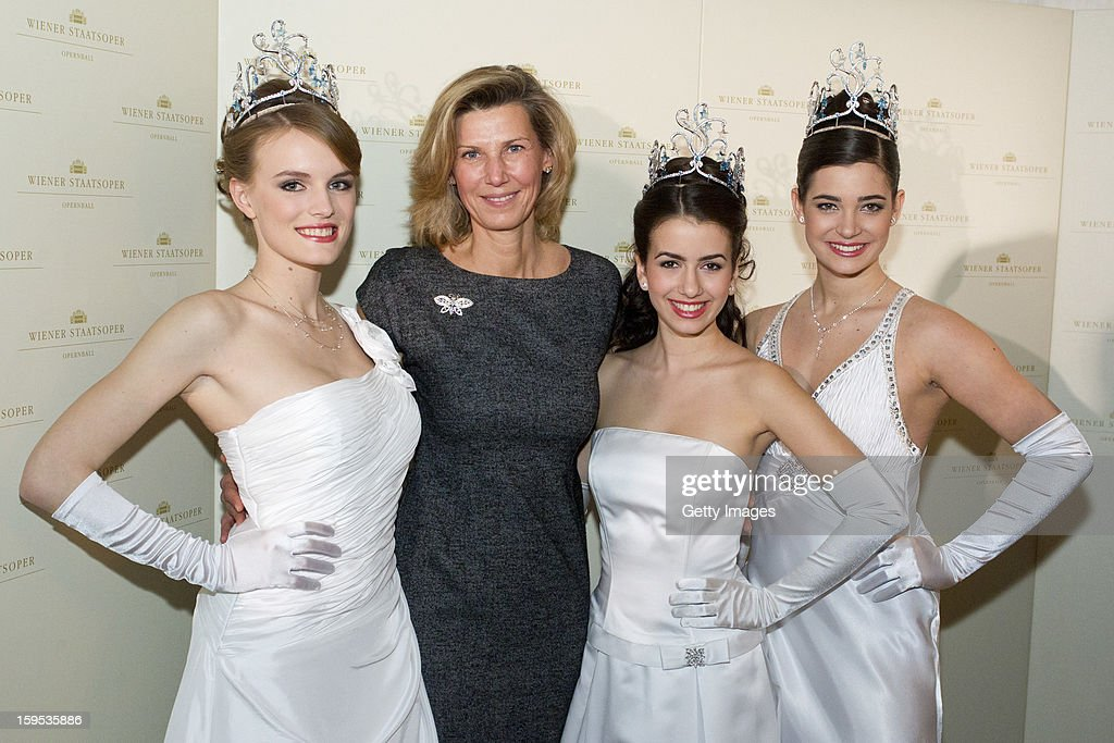 Organizer of the Opera Ball Desiree Treichl-Sturgkh poses with debutants of the opening ceremony during the press conference ahead of Vienna Opera Ball on January 15, 2013 in Vienna, Austria.