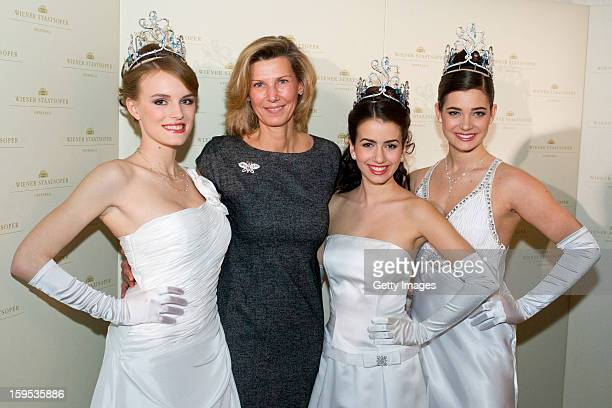 Organizer of the Opera Ball Desiree TreichlSturgkh poses with debutants of the opening ceremony during the press conference ahead of Vienna Opera...