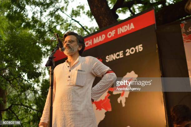 Organizer Rahul Roy speaks during a 'Not in my Name' protest against spate of antimuslim killings in India at Jantar Mantar in New Delhi India on...