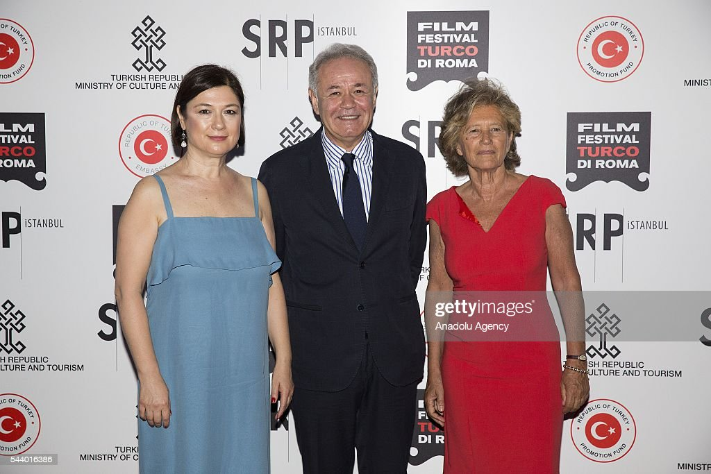 Organizer Serap Engin(L), ambassador Aydin Adnan Sezgin and producer Tilda Corsi attend Opening Ceremony of the V. Film Festival Turco at House of Cinema-Villa Borghese on June , 30, 2016 in Rome, Italy.