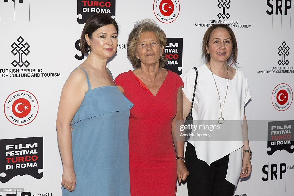 Organizer Serap Engin (L) producer Tilda Corsi and producer Zumrut Arol Bekce attend Opening Ceremony of the V. Film Festival Turco at House of Cinema-Villa Borghese on June , 30, 2016 in Rome, Italy.