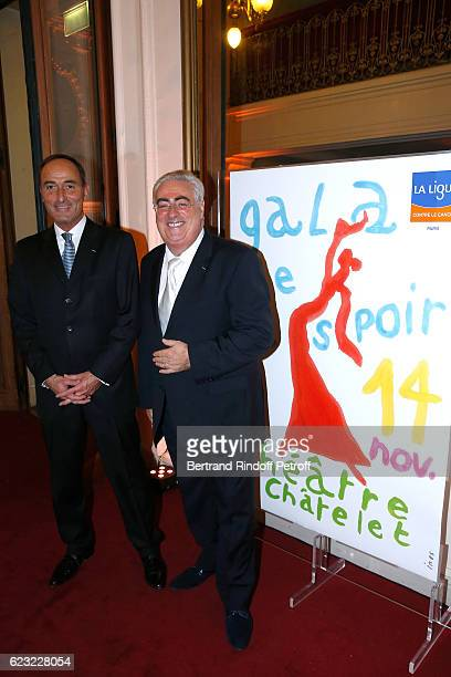 Organizers of the event Herve MichelDansac and JeanMichel Aubrun attend the 24th 'Gala de l'Espoir' at Theatre du Chatelet on November 14 2016 in...