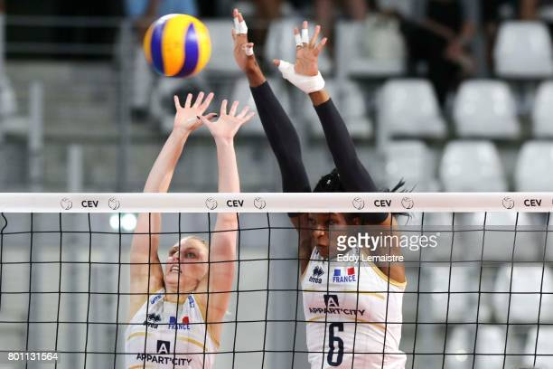 Oriane Amalric of France and Marie France GarreauDje of France during the Women's European league match between France and Montenegro on June 24 2017...