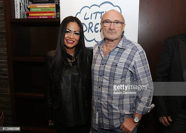 Orianne Cevey and Phil Collins attends Little Dreams Fundation Gala Preview at Setai Hotel on February 26 2016 in Miami Beach Florida