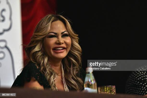Orianne Cevey attends the Little Dreams Foundation Gala Press Conference at Faena Hotel on October 18 2017 in Miami Beach Florida