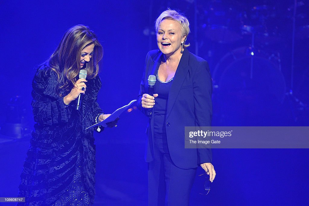 Orianne Collins and French actress Muriel Robin open the Little Dreams Foundation 10th Anniversary Gala at Leman Theatre on October 21, 2010 in Geneva, Switzerland.