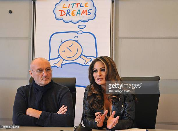 Orianne Collins and Phil Collins speak during the Little Dreams Foundation 10th Anniversary press conference on October 21 2010 in Nyon Switzerland
