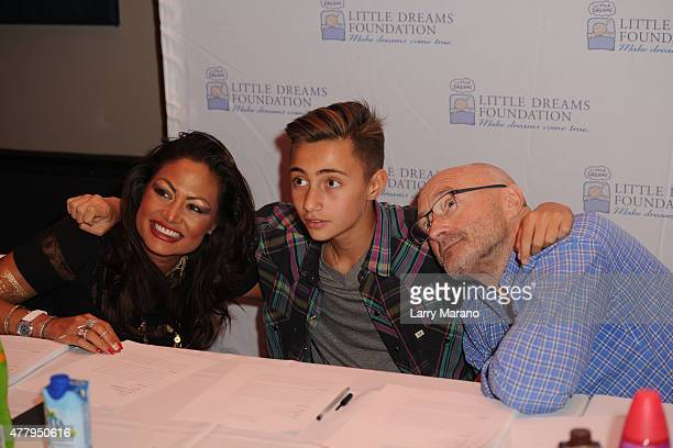 Orianne Collins Nicholas Collins and Phil Collins attend the Little Dreams Foundation auditions at Markee Studios on June 20 2015 in Deerfield Beach...