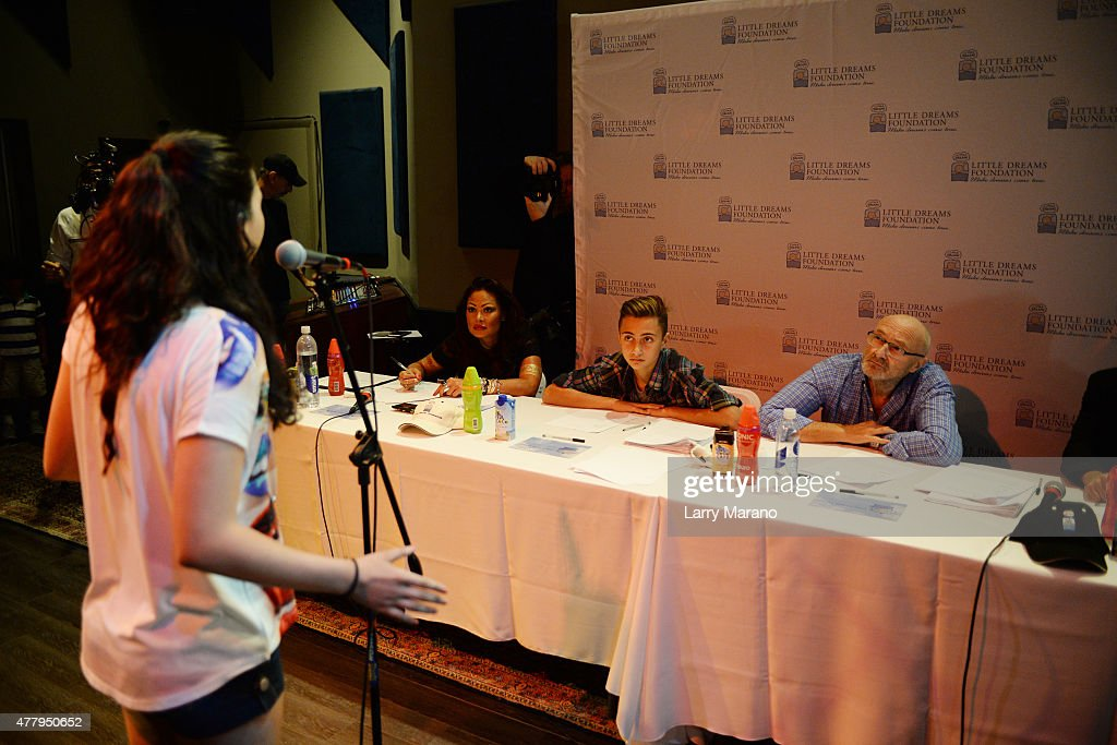 Orianne Collins, Nicholas Collins and Phil Collins attend the Little Dreams Foundation auditions at Markee Studios on June 20, 2015 in Deerfield Beach, Florida.