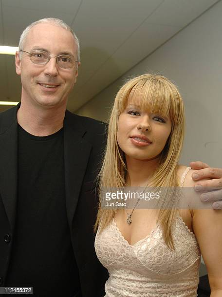 Orianthi and Paul Reed Smith backstage during Orianthi Performs Live at the 2005 Musical Instruments Fair in Japan November 6 2005 at Pacifico...
