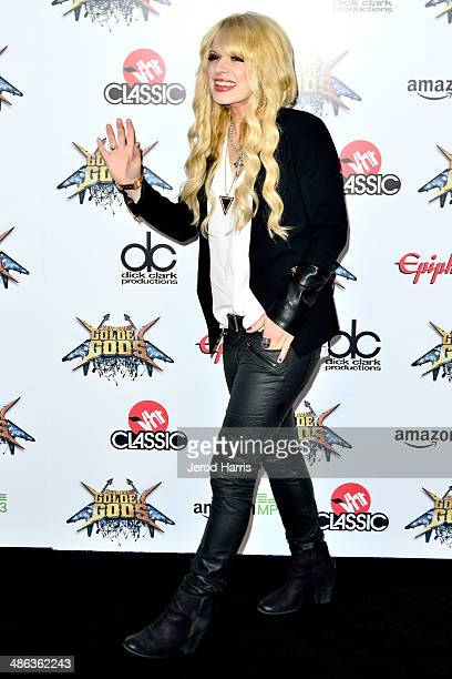 Orianthi arrives at the 2014 Revolver Golden Gods Awards at Club Nokia on April 23 2014 in Los Angeles California
