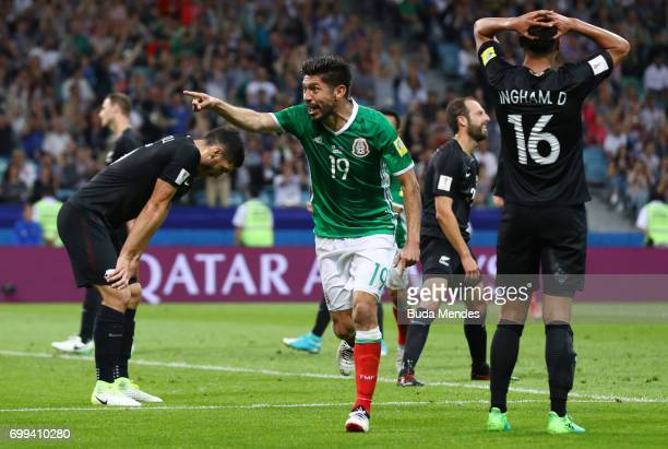 Oribe Peralt of Mexico celebrates scoring his sides second goal during the FIFA Confederations Cup Russia 2017 Group A match between Mexico and New...
