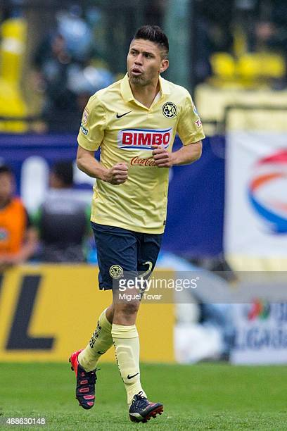 Oribe Peralta of America celebrates after scoring during a match between America and Cruz Azul as part of 12th round Clausura 2015 Liga MX at Azteca...