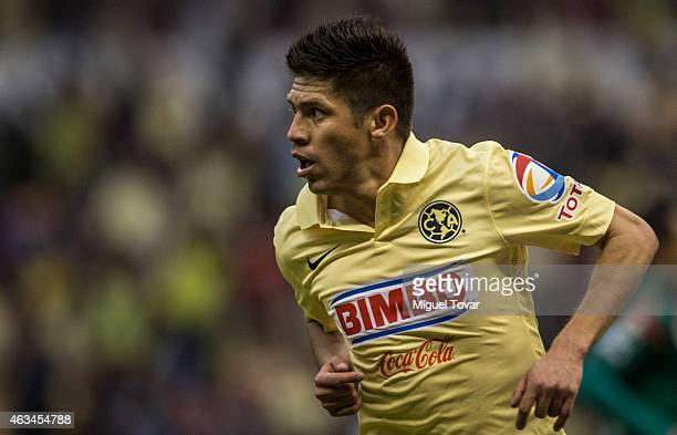 Oribe Peralta of America celebrates after scoring the fifth goal of hit team during a match between America and Chiapas as part of 6th round Clausura...