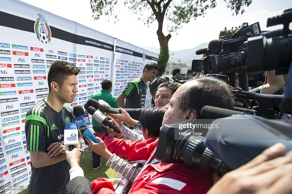 Oribe Peralta of Mexican National soccer team talks with media during a training session at CAR on January 27, 2014 in Mexico City, Mexico. The team is preparing to face Korea in a friendly match.