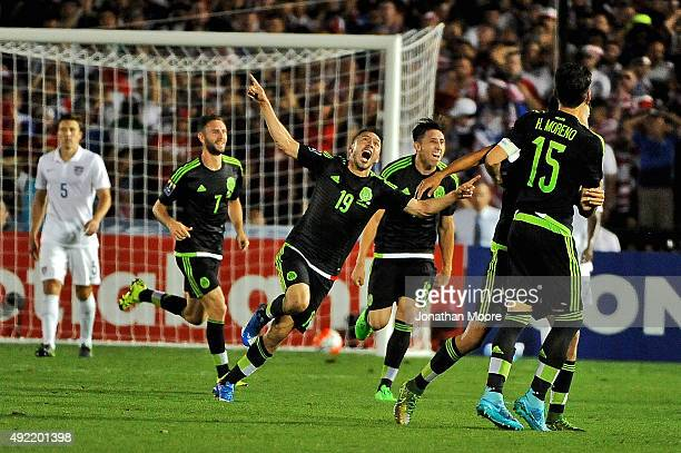 Oribe Peralta of Mexico celebrates after scoring against the United States during the 2017 FIFA Confederations Cup Qualifier at Rose Bowl on October...